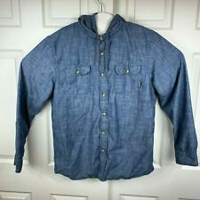 Burton Snowboarding Long Sleeve Button Up Shirt Hooded Thermal Lined Blue Sz L