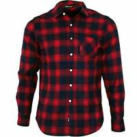 Replay Brushed Flannel Tartan Check Men's Shirt, Red