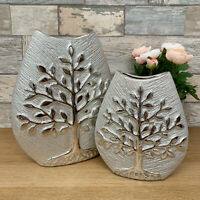 Modern Champagne Ceramic Home Table Decorative Tree Of Life Wide Flower Vase Art