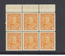 CANADA # 220 VF-MNH KGV 4cts PLATE BLOCK CAT VALUE $105