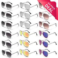 6 PACK Sunglasses Party Favors Bulk Lot Aviator Retro Men Women Pilot Glasses