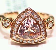 1.97CT 14K Rose Gold Natural Morganite White Diamond Vintage Engagement Ring