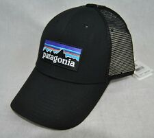 NEW PATAGONIA P6 LOGO TRUCKER HAT BLACK MID CROWN FAST SHIP CAP SNAP BACK
