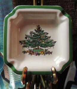 4 Square Ashtray Christmas Tree Green Trim by Spode