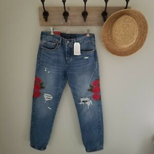 NWT Levis 501 Jeans Taper Custom Blues Rose Embroidered Destroyed Boyfriend 27