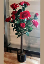 "Faux Red Rose Bush Flowering Tree 28"" Tall Tabletop Centerpiece"