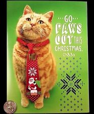 Adorable Orange Tabby Kitten Cat Tie Paws Out *3-D* Christmas Greeting Card New