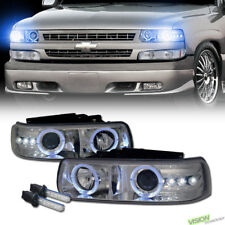 10K Hid Xenon Chrome LED Halo Projector Headlight For 99-06 Silverado Suburban