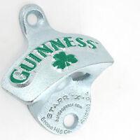 Guinness Shamrock Cast Aluminum Bottle Opener - Wall Mount - Home Bar Beer Gift