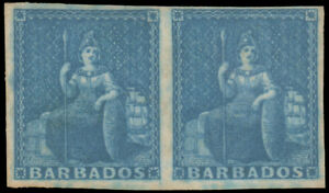 BARBADOS 1852 (1p) BLUE ON BLUED PAPER PAIR UNUSED #2a full margins without gum