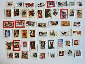 50 Vintage Christmas Canceled U.S Postage Stamps On Paper, Holiday Crafts
