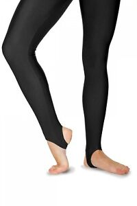 Roch Valley Stirrup Leggings Shiny Nylon Lycra Black-Dance Gymnastics Twirling