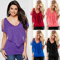 Fashion Womens Cold Shoulder Loose T-shirt Blouse Batwing Sleeve Casual Tops