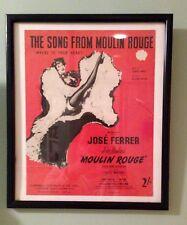 """Shabby Chic Enmarcado partituras """"la canción de Moulin Rouge"""" 11 X 13 pulgadas."""