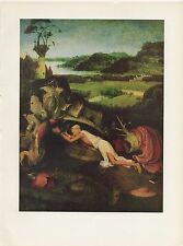 """1971 Vintage HIERONYMUS BOSCH """"SAINT JEROME IN PENITENCE"""" COLOR Art Lithograph"""