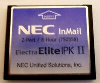NEC Voice Mail InMail IPK-II 750558 Compact Flash Card v.1.3 Module 2-Port 8-Hr