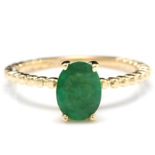 1.20 Carats Natural Emerald 14K Solid Yellow Gold Ring