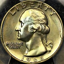 Lightly Toned PCGS SP66 1966 SMS Washington Quarter 25c Blue Gold Color