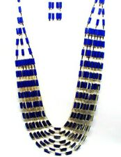 Trending Multi-Strand Layered Blue Bib Collar Statement Beaded Crystal Necklace