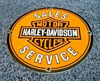 VINTAGE HARLEY DAVIDSON MOTORCYCLE PORCELAIN GAS SERVICE STATION PUMP SIGN