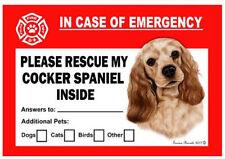 Cocker Spaniel Pet Savers Emergency Rescue Window Cling Sticker