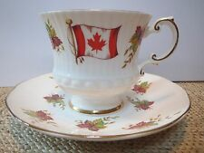 ELIZABETHAN TEACUP AND SAUCER - THE FLAG AND MAPLE LEAF OF CANADA - GOLD TRIM