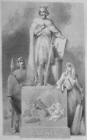 ENGLAND WESSEX ANGLO SAXON KING ALFRED THE GREAT ~ 1858 Art Print Engraving RARE