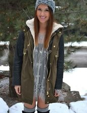 ZARA KHAKI COAT PARKA JACKET WITH QUILTED FAUX LEATHER SLEEVES DETACHABLE FUR XS