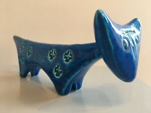 Bitossi Rimini Blue aldo londi animal figure cat italian pottery Blu