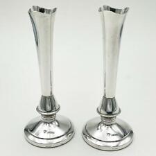 More details for pair elizabeth ii sterling silver posy vases birmingham 1978 j b chatterley