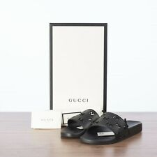 GUCCI 320$ Men's Rubber GG Cut Out Slide Sandals In Black