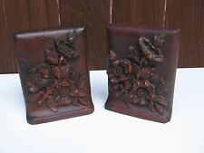 Antique Bookends Wood Resin Flowers Bouquet
