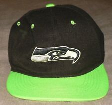 SEATTLE SEAHAWKS Black Action Green Embroidered Logo NFL Snapback Cap Hat EUC