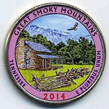 2014 GREAT SMOKY MOUNTAINS COLORIZED AMERICA'S BEAUTIFUL NATIONAL PARKS QUARTER