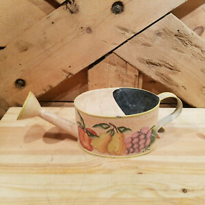 Light Tan Watering Can/Pitcher w/ Fruit Painting - Swanky Barn