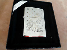 ZIPPO LIGHTER SILVER PLATE SERIE GOLD INLAY EAGLE 30250SPE NEW