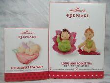 Hallmark 2013 Little Sweet Pea Fairy 2015 Lotus Poinsettia Ornament Messengers