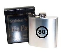 80 Aniversario límite de velocidad 6 Oz Acero Inoxidable Hip Flask-grabadas con láser