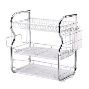 3 Tier Chrome Coated Dish Drainer Sink Rack Drip Tray Plates Cutlery Cup Holder