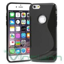 Pellicola+Custodia cover Wave per iPhone 6 6S case gel nero lucido opaco nuova