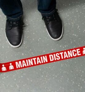 Maintain 6ft Social Distance Floor Marking Stripes, Set of 4, Various Colors