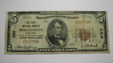 $5 1929 Binghamton New York NY National Currency Bank Note Bill! Ch. #202 RARE