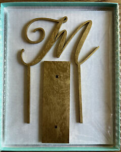 Wedding Cake Topper, Monogrammed M with Base Shimmery Gold Painted
