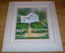 New listing GARDEN FLOWERS VICTORIAN HOUSE PATH FENCE NATURE OIL ART IMPRESSIONISM PAINTING