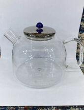 Jenaer Glas Clear Glass Coffee Tea Pot With Metal Lid Germany