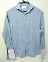 M.J. Bale Mens Shirt Size 41 (L) Super Slim Blue White French Cuffs Button Up