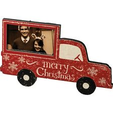 Primitive Country Christmas Vintage Red Truck Photo Frame Hang or Free Stand