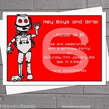 ROBOT personalizzato Per Bambini Festa Di Compleanno Inviti x 12 + funzionale H0288