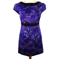 Oasis 12 Purple Floral Fitted Pencil Dress Party Occasion Cap Sleeve Knee Length