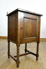 Antique vintage bobbin turned oak bedside cabinet / pot cupboard
